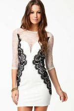 WOMENS SEXY WHITE LACE BODYCON MINI DRESS PARTY CLUB OUTFIT TOWIE 8 10 12 14 16