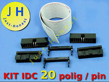 IDC KIT 20 polig /pin + 30 cm Flachbandkabel Ribbon cable  Buchse Stecker Header