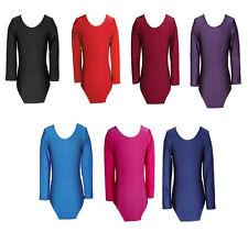 New Girls Uniform Leotard Dance Gymnastics Ballet Long Sleeve Leotards Adult