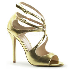 Extravagante Frauen Stiletto High-Heels SANDALETTE gold Lederlook Gr 35-45 (ESH