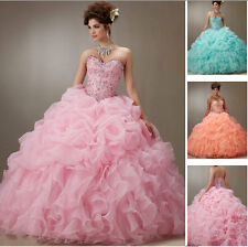 2016 Bead Quinceanera Dress Evening Formal Party Wedding Prom Dress Ball Gown