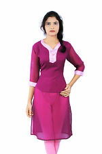 Maroon Color Georgette Plain Semi Embroidered Half Inner Casual Wear Women Kurti