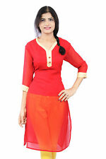 Red Color  Georgette Plain Semi Embroidered Half Inner Casual Wear Women Kurti