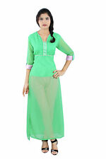 Green Color Georgette Plain Pakistani Style  Half Inner Casual Wear Women Kurti
