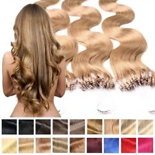 EXTENSION CAPELLI VERI ondulato HAIR EXTENSION MICRORING 40cm 50cm 60cm REMY