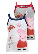 NEW GirlsOfficial Peppa Pig Glitter Print Strappy Vest Top Grey / White Ages 3-8
