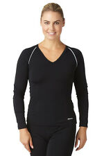 Bohn Swimwear Ladies V-Neck Swim Top Long Sleeve Black Size 08-24 Plus Sizes