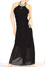 VESTITO donna NERO elegante ABITO LUNGO strass seta cerimonia party dress E130