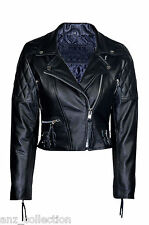 Ladies Model New Quilted Black Fashion Biker Style Hide Leather Rock Jacket