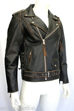 Mens Gents Brando Live to Ride Motorcycle Biker Cow Hide Real Leather Jacket