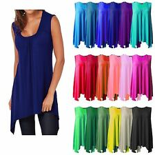 WOMEN HANKY HEM TOP LADIES LONG SLEEVELESS SCOOP NECK VEST TOP FLARED SWING 8-26
