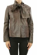 MAISON MARTIN MARGIELA MMM WOMENS 100% LAMB LEATHER NECK TIE COAT JACKET CELEB
