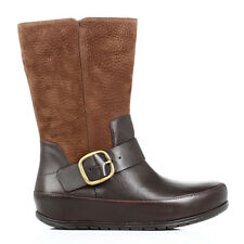 FF2 by FitFlop Womens Ankle Boots Leather Chocolate Brown Dueboot Biker Buckle