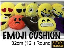 EMOJI SMILEY EMOTICON ROUND FILLED PILLOW CUSHION YELLOW CHOICE OF DESIGNS 12''