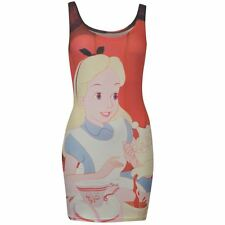 Ladies Character Stretchy Bodycon Dress Disney Alice New With Tag