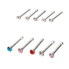 Fashion 24Pcs Surgical Steel Rhinestone Round Nose Ring Stud Body Piercing Jewel