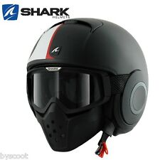 Casco SHARK RAW Stripe Opaco nero decorazione occhiali getto moto scooter