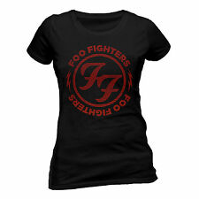 Foo Fighters T Shirt Red Circle Official Black Womens Ladies Skinny Fit Tee