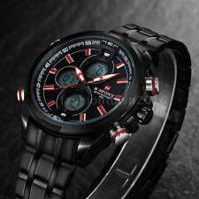 NAVIFORCE 9049 NERO Uomo Quarzo Digitale LED Dual Time Display Orologio Da Polso