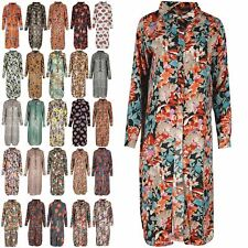 Womens Curved Hem Gold Buttons Ladies Front Split Top Full Sleeve Shirt Dress