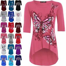 Womens Ladies Butterfly Print 3/4 Sleeves Dip Hem High Low Tunic Top Plus Size