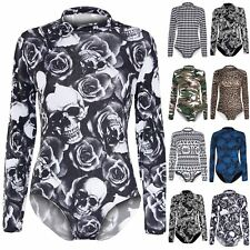 Womens Ladies Turtle Roll Neck Long Sleeve Stretchy Leotard Bodysuit Size 8-22
