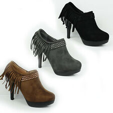 WOMENS LADIES PLATFORM HIGH HEEL TASSLE LOW ANKLE BOOTS BOOTIES SHOES SIZE 2-7
