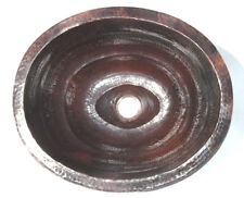 Mexican Copper Bathroom Sink Hand Hammered Oval Drop in  02