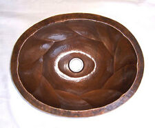 Mexican Copper Bathroom Sink Hand Hammered Oval Drop in  29