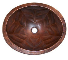 Mexican Copper Bathroom Sink Hand Hammered Oval Drop in  35