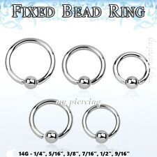"2pc 14g 1/4"" 9/16"" Steel Fixed Ball Captive Bead Ring CBR Lip Earrings Cartilage"