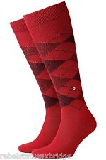 BURLINGTON Men's Preston Knee High Classic Argyle Golf Sports Socks Red/Burgundy