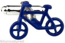 NEW PAIR BLUE CYCLING BIKE CYCLIST CUFFLINKS SHIRT RETRO BICYCLE GIFT UK SELLER