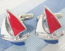 NEW PAIR YACHT SAILING BOAT CUFFLINKS SHIRT NOVELTY SAILS SAILOR RED BLUE WHITE