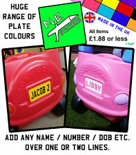 Personalised Number Plate for Little Tikes Cozy Coupe kids ride on toy car