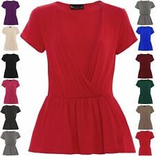 Womens Ladies Front Cross Wrap Over Oversized Cap Sleeve Blouse Tops Plus Size