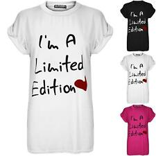 Womens Ladies I'm A Limited Edition Heart Oversized Baggy Cap Sleeve T Shirt Top