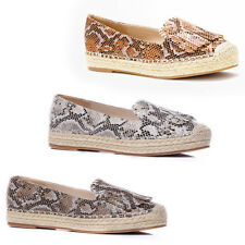 WOMENS LADIES WEAVE CHUNKY SOLE TASSLE PUMPS LOAFERS ESPADRILLES SHOES SIZE 3-8