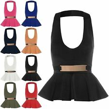 Womens Ladies Peplum Belted Halter Neck Sleeveless Bodycon Top Mini Dress