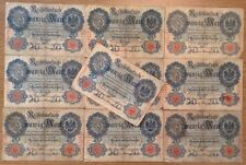 10 X German Banknotes. 20 Mark. Reichsbanknote. Dated 1914.