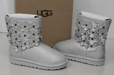 New UGG Uggs Girls Classic Short Flora Silver Leather youth Boots US 3 EU 33 U 2