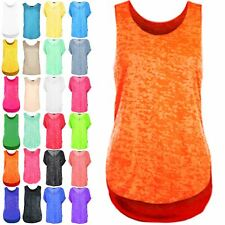 Womens Ladies Racer Back Sleeveless Summer Burnout Jersey Vest Top Plus Sizes