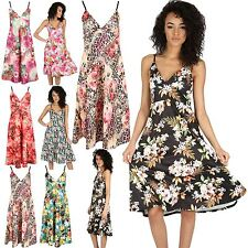 Womens Mini Skater Dress Ladies Plus Size Flare Top Cami Strappy Wrap Over Swing