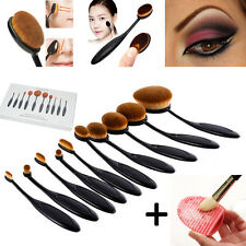 10Tlg Profi Make Up Oval Pinsel Set Foundation Puder Kosmetik Brush Zahnbürste