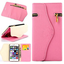 Pink Leather Wristlet Pouch Case Wallet Flip Cover+ Zipper For Apple iPhone 6/6s