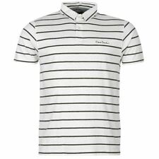 Pierre Cardin Mens Yarn Dye Stripe Polo Shirt White/Charcoal New With Tags