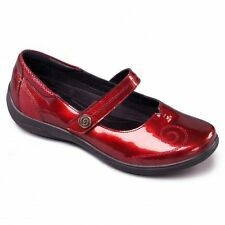 Padders LYRIC Ladies Extra/Super Wide Comfy Velcro Patent Mary Jane Shoes Red