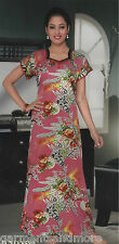 Original Satin Pretty 1Pc Long Printed  Nightie / Nighty /Gown with Lace