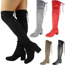 Womens Thigh High Boots Ladies Over The Knee Lace Up Long Low Heel Shoes Size