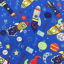 "Printed poly cotton Blue with Rockets 115cm 45"" wide sold by metre"